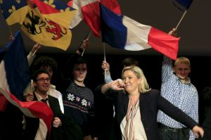Marine Le Pen, French National Front political party leader and candidate for the National Front in the Nord-Pas-de-Calais-Picardie region, attends a political rally as she campaigns for the upcoming regional elections in Lille